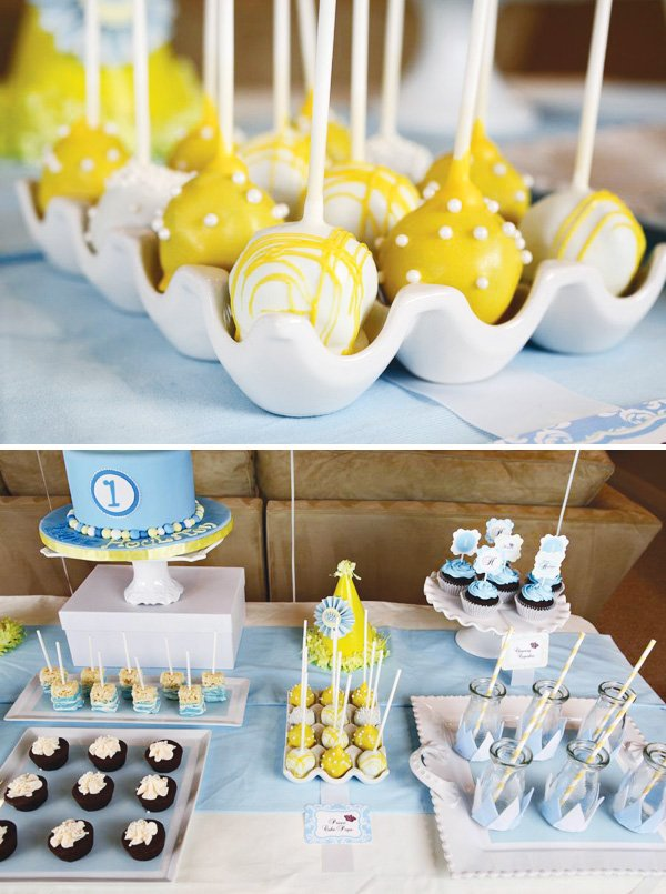little prince birthday party yellow cake pops and dessert table