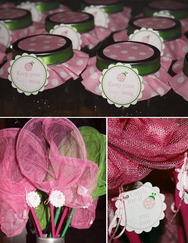 love bug pink party favors of jars and butterfly nets
