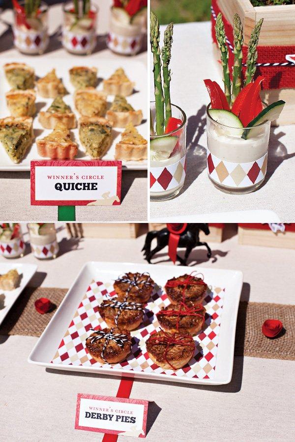 kentucky derby party food - derby pies, winner's circle quiche, crudites