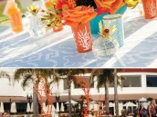 modern beach inspired wedding with orange coral manzanita centerpieces
