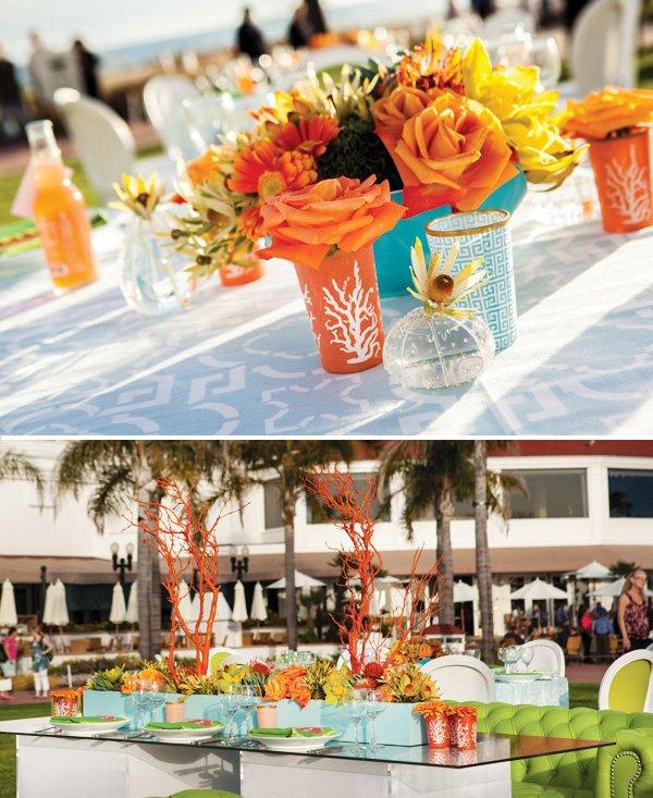 modern beach inspired wedding with orange coral manzanita centerpieces