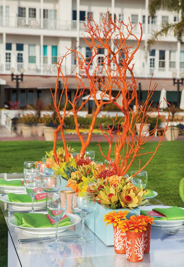 modern beach wedding orange centerpieces
