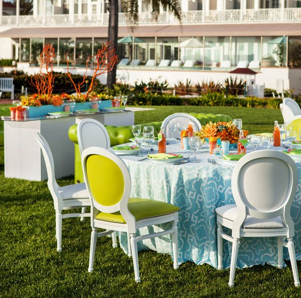 modern beach inspired wedding coral lime aqua - table designs