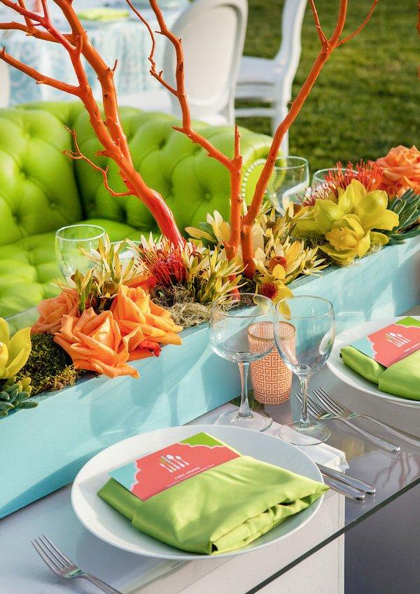 modern beach inspired wedding with mod geometric menus