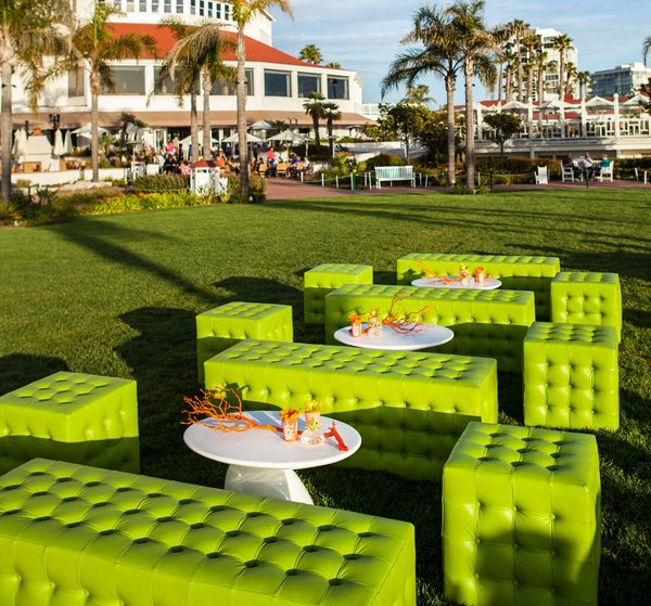 mod wedding - lime green couches lounge on the grass