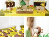 monkey birthday party dessert table