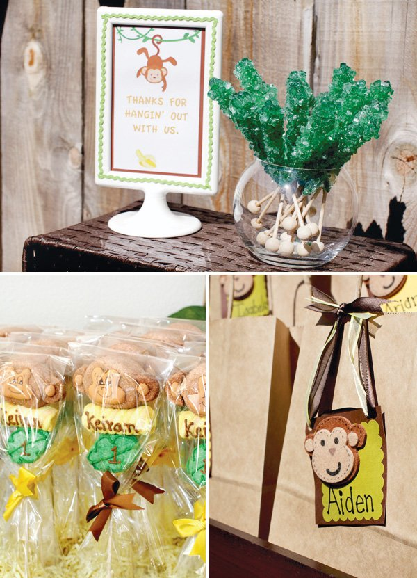 monkey birthday party favors and cake pops