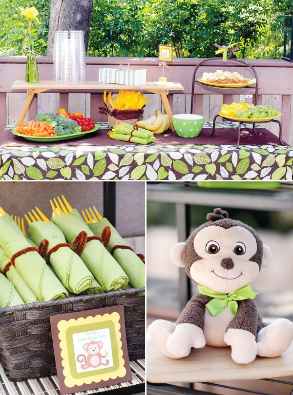 monkey birthday party food table and silverware