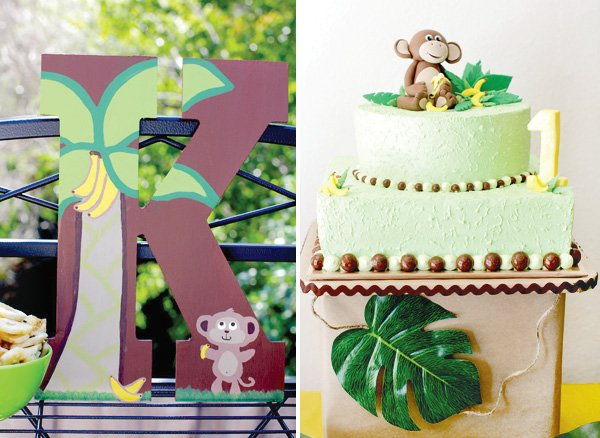 monkey birthday party letter decoration and 2-tier cake