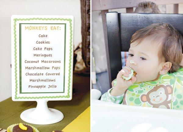 monkey birthday party menu and cake