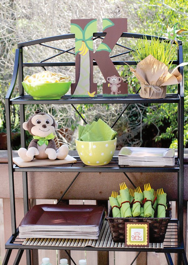 monkey birthday party utensil display
