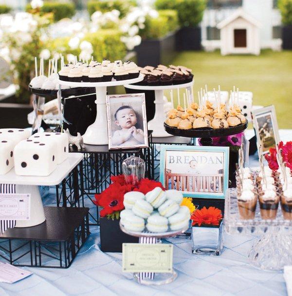 monopoly birthday party dessert display