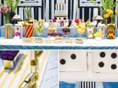monopoly birthday party dessert table with gold trains and dice cakes