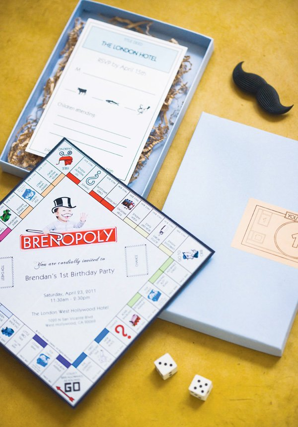 monopoly birthday party invitations resembling the board game
