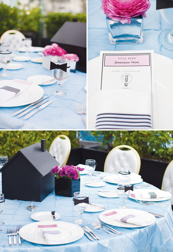 monopoly birthday party tables and menus with black and white and powder blue