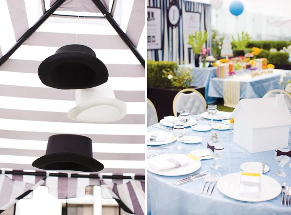 monopoly birthday party top hat garland and table settings
