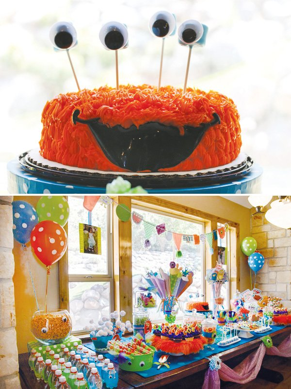 monster birthday party orange cake and dessert table