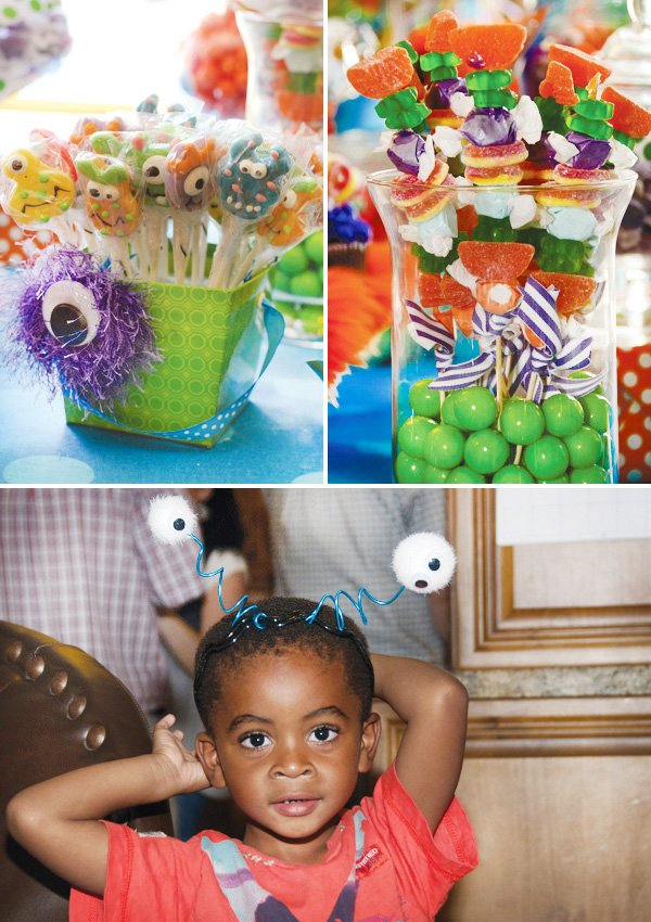 monster birthday party headband and candy with googly eye balls