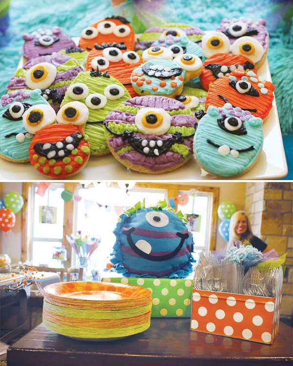monster birthday party cookies and plates and utensils in colorful shades and patterns