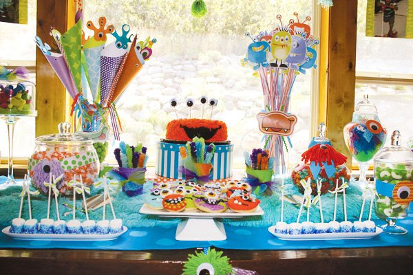 monster birthday party dessert or sweets table
