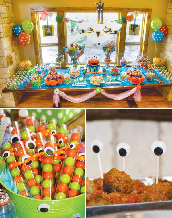 monster birthday party dessert table and close up on candy with googly eyes