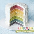 layered rainbow cake made with all natural vegetable dyes