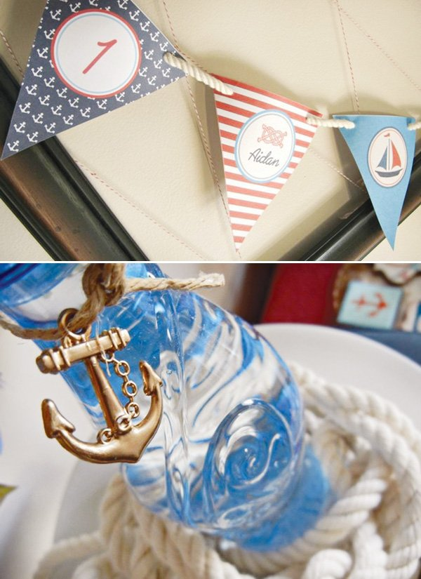 nautical bunting banner and water bottles