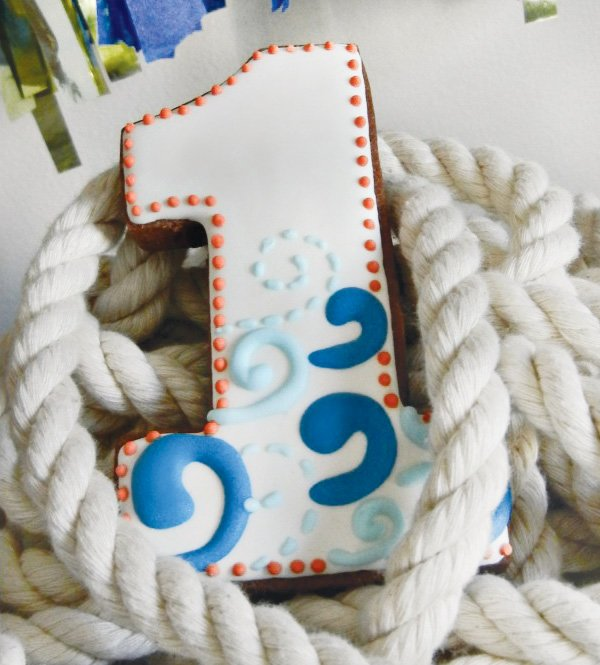 nautical first birthday cookies