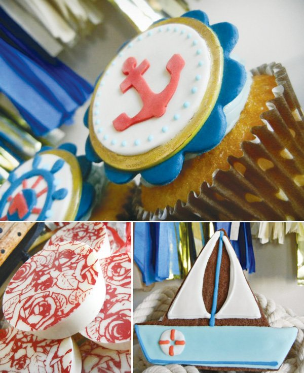 nautical first birthday party cupcake topper