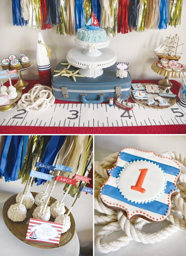 nautical first birthday party dessert table