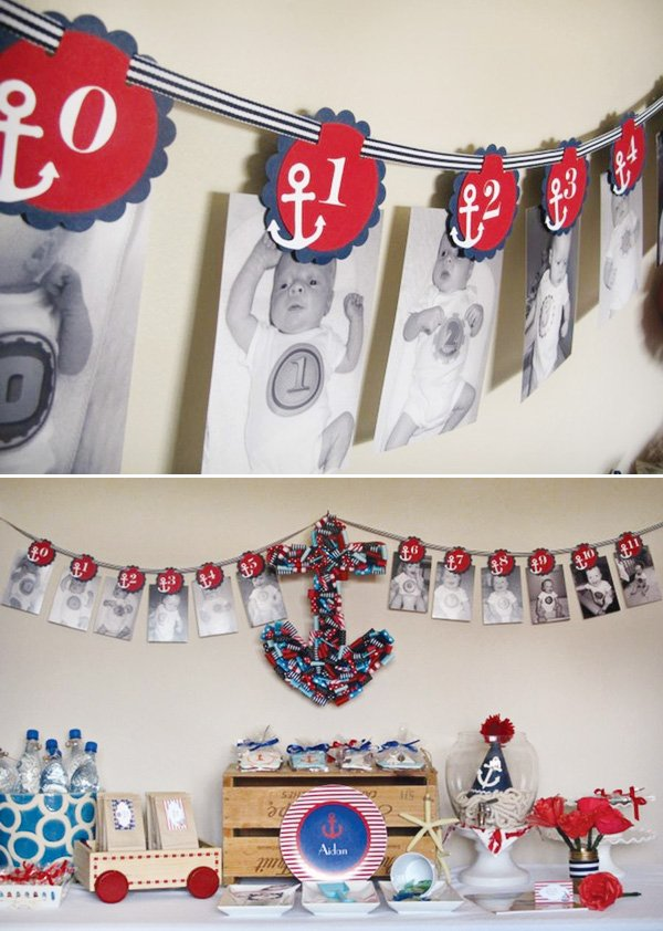 nautical first birthday party favor table