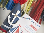 nautical first birthday party invitation