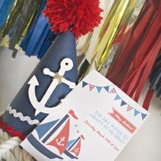 nautical first birthday party invitation