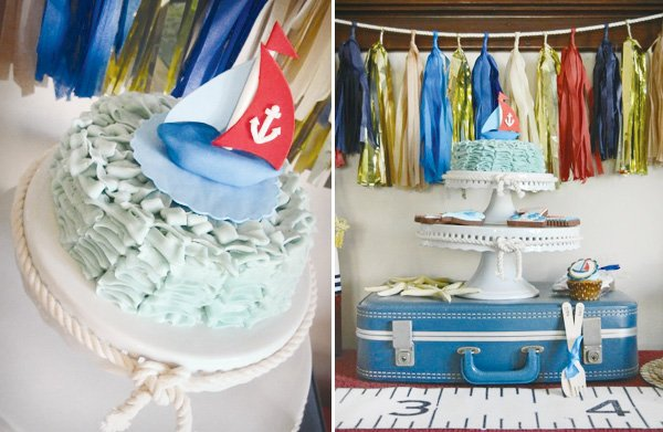 nautical first birthday party sailboat cake