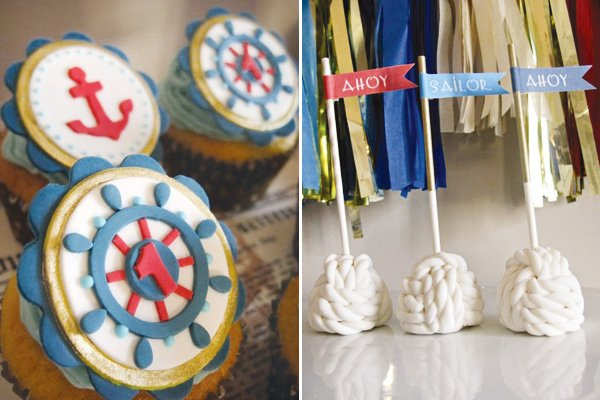 nautical and sailor theme party with rope cake pops