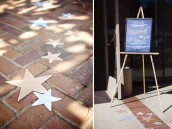 neverland inspired first birthday party sign to entrance with stars on the ground
