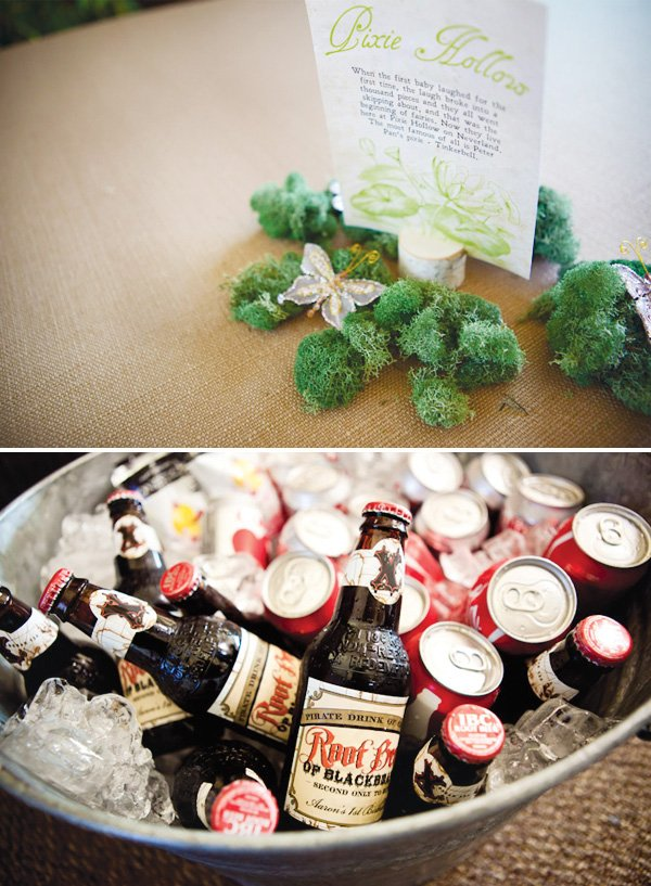 neverland inspired first birthday party table centerpiece and root beer