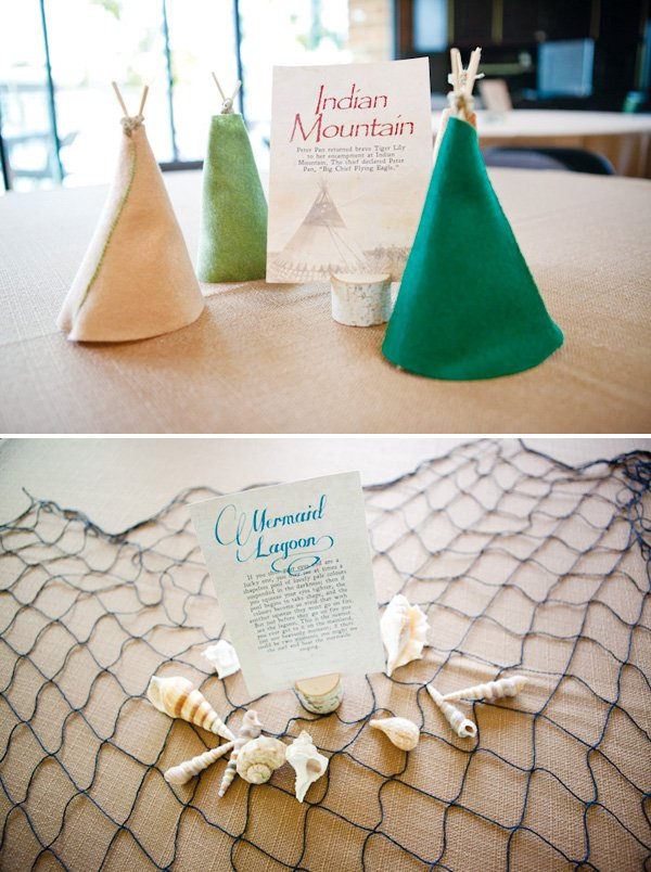 neverland inspired first birthday party table centerpieces of indian mountain and mermaid lagoon