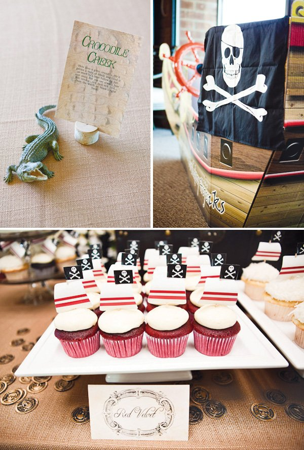 neverland inspired first birthday party simple table centerpieces and cupcake label toppers