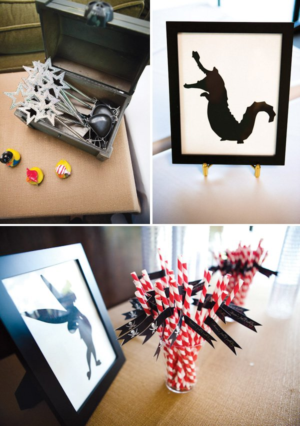 neverland inspired first birthday party striped straws, ducks and graphic designs