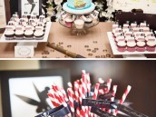 neverland pirate birthday party with pirate cake and pirate straw flags