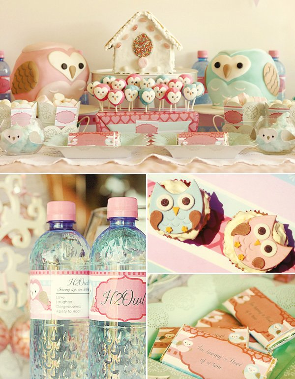 owl love dessert table cupcake toppers and water bottle labels