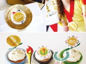 olympic party theme with ring fondant cupcake toppers