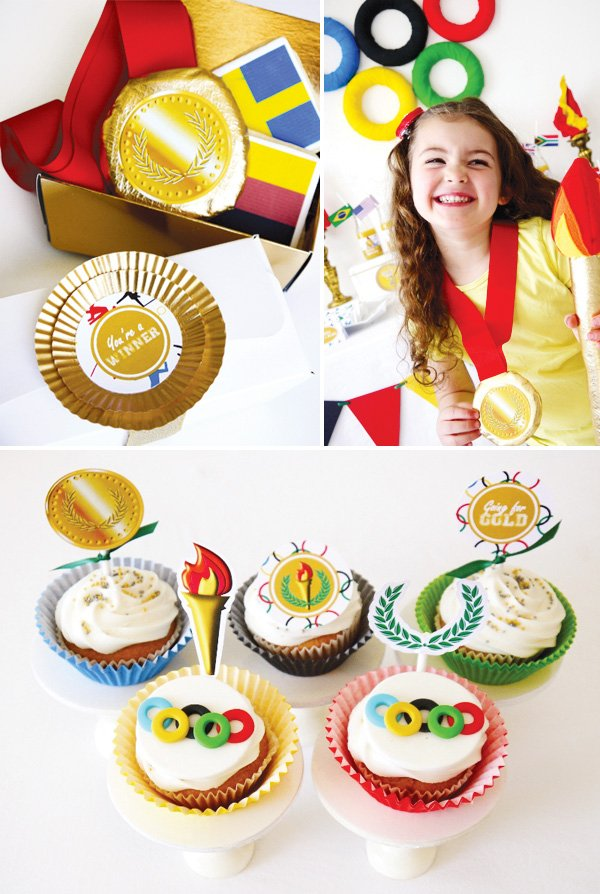 olympics party theme with ring fondant cupcake toppers