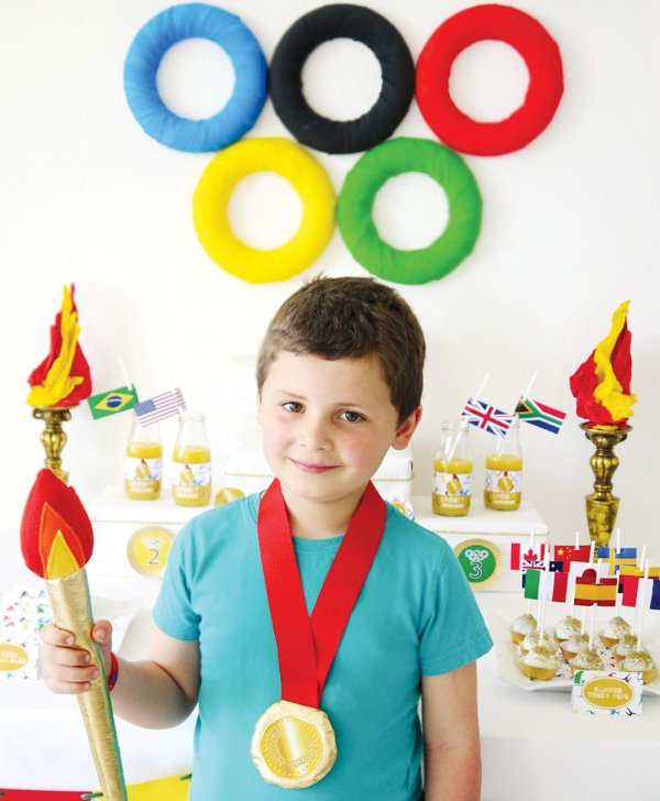 olympics party theme felt torch and gold metal