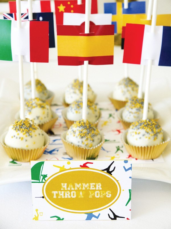"olympics party theme flag toppers and healthy ""cake balls"""