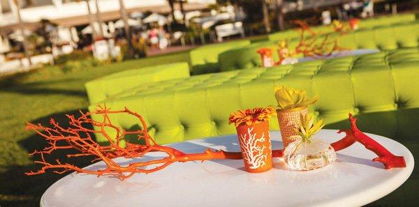 orange manzanita mod white table