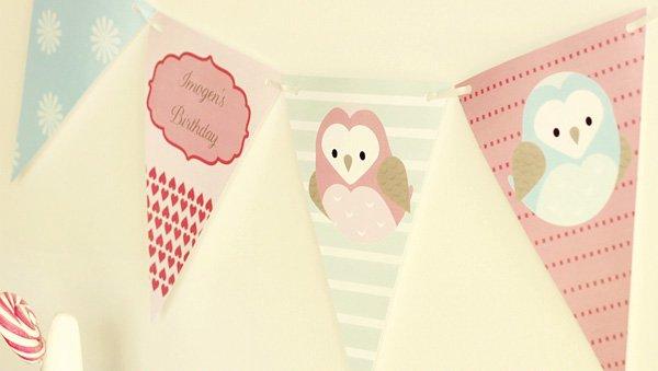 owl love dessert table bunting