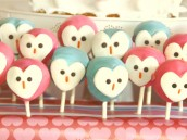 owl love dessert table cake pops