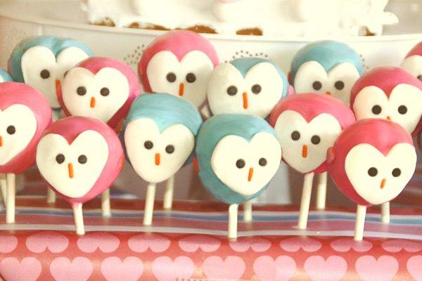 owl love dessert table cake pops